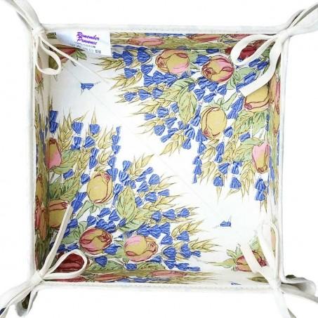 Corbeille à pain en tissu, imprimé provençal Roses et Lavandes