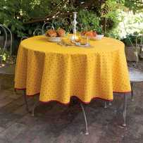 Round table covers printed Calissons yellow in scene