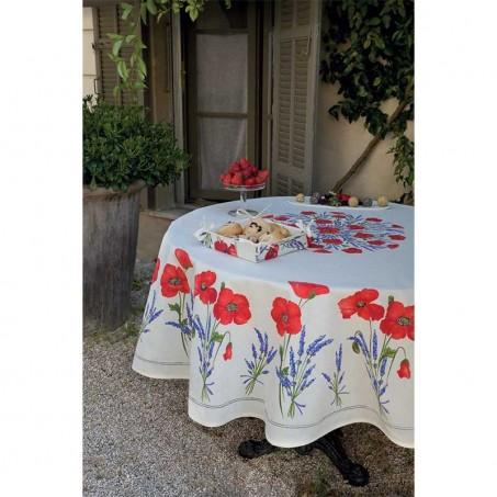 Round tablecloths Coquelicots et Lavandes white