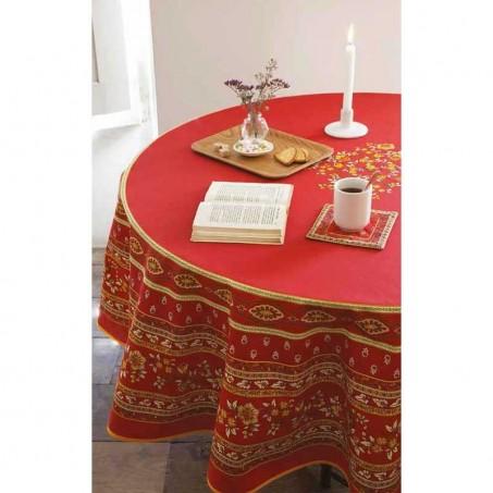 Provence tablecloth round Avignon, Marat d'Avignon red