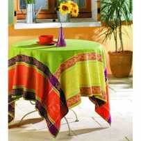 Waterproof tablecloth, square, woven Jacquard Citronnier green