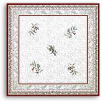 Square table cloth Jacquard woven Auriol white