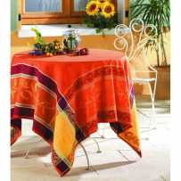Party tablecloth rectangular shape, jacquard Citronnier red