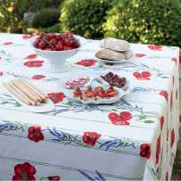 Floral rectangle tablecloth, Coquelicots Lavandes white