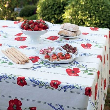 Floral rectangle tablecloth, Coquelicots Lavandes white