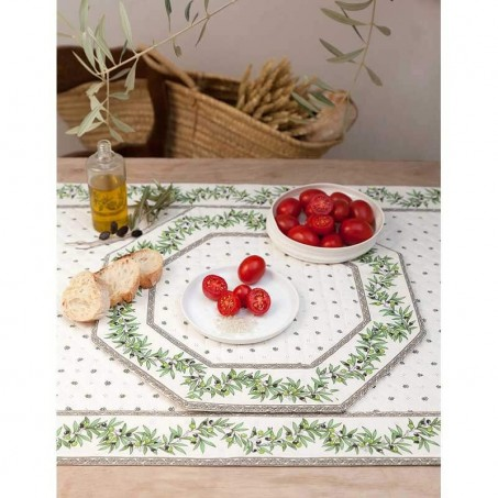 Dining table mats Calissons Olivettes white green