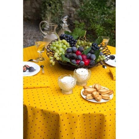 Nappe ronde en coton, imprimé provençal Calisson jaune zoom