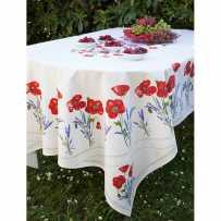Nappe rectangulaire motif placé en coton, imprimé Coquelicots & lavandes blanc