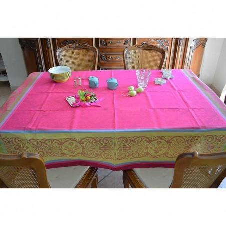 Stain resistant tablecloth jacquard Renaissance pink