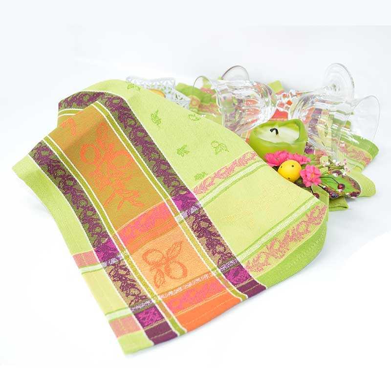 Torchon coton jacquard 50x70 cm vert avec motifs à citrons