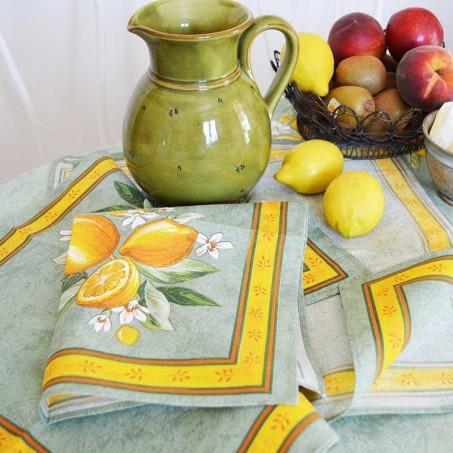 Serviettes de table carrées en tissu provencal motif citron couleur vert