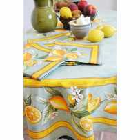 Provencal Cotton tablecloths, round shape, Printed Citron
