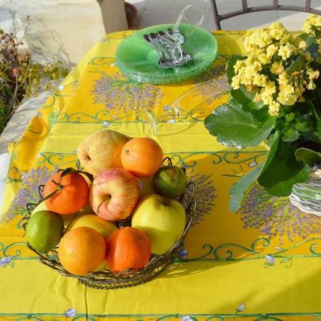 Rectangular and yellow stain resistant tablecloth, Bouquet de lavande