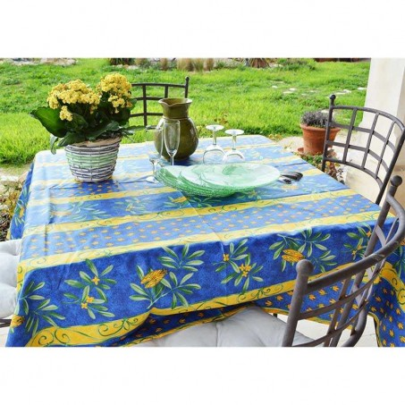 Outdoor Square tablecloth in blue color, Cigales stripe print in scene