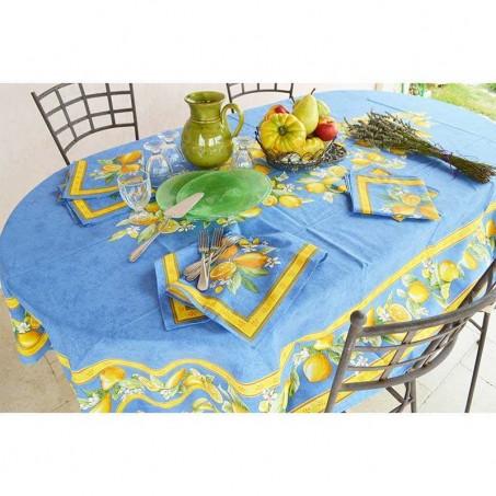 Nappe rectangle pour table ovale en tissu enduit motif placé Citron