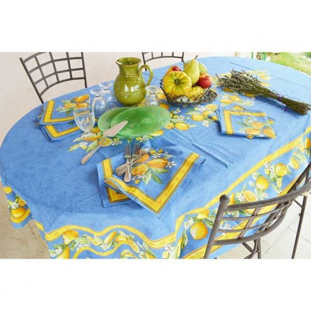 Outdoor tablecloth oval table in blue color pattern lemon