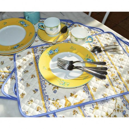 Rectangular table mats Moustiers white blue