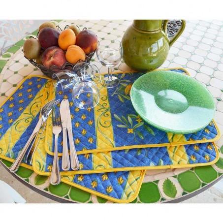 Sets de table matelassé, imprimé Cigales bleu