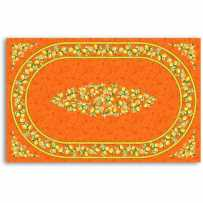 Nappe rectangle motif placé en coton, imprimé Citron orange