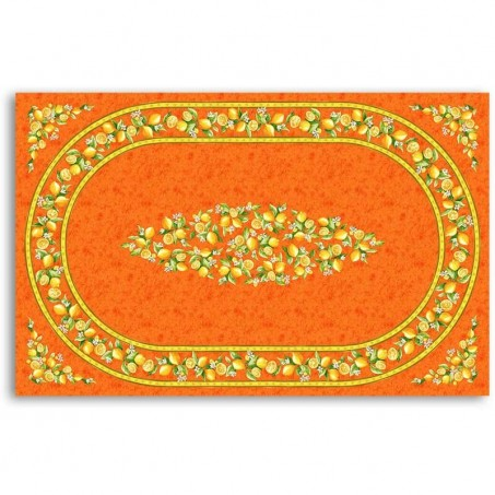 Outdoor tablecloth oval table, Citrons print orange