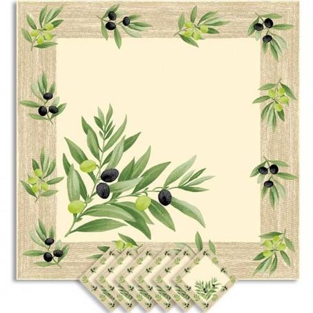 Serviettes de table carrées, motifs olive imprimé ramatuelle