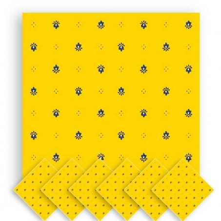Serviette table tissu imprimé Calissons jaune bleu