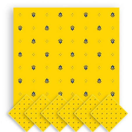 Fabric napkins, Calissons print yellow blue