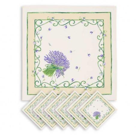 Serviettes de table carrées, imprimé Bouquet de lavandes blanc