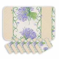 Sets de table matelassé, imprimé Bouquet de lavandes écru