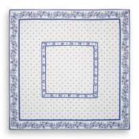 Quilted table cover, cotton printed Calissons Fleurettes white blue