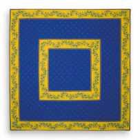 Tapis de table matelassé, imprimé provençal Calissons Olivettes bleu jaune