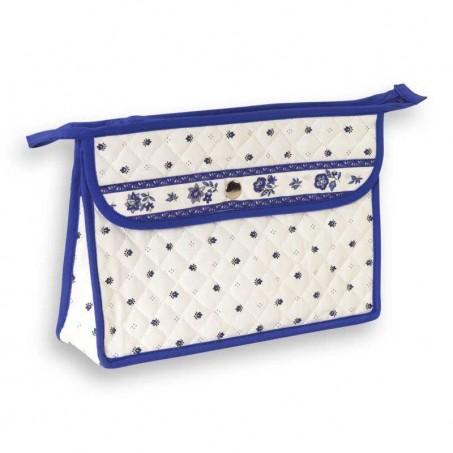 fabric makeup bag white blue