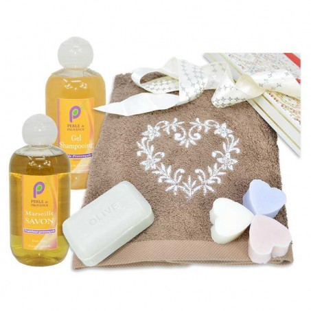 Marseille soap and hand towel set Valentine