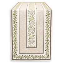 table runner ecru green