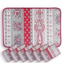 Bastide quilted placemats, Marat d'Avignon red