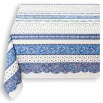 Nappe carrée en coton imprimé tradition rayure blanc