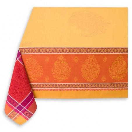 laminated fabric tablecloth in orange jacquard woven