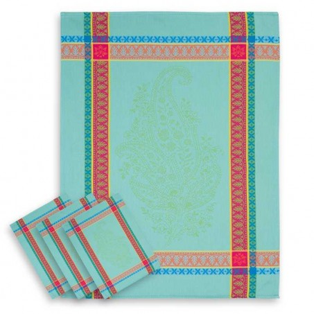 turquoise kitchen towels in Jacquard cotton
