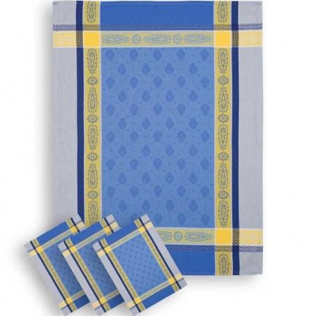 blue tea towels in jacquard fabric made in france