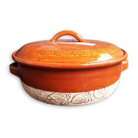 Casserole dish with lid made in Vallauris - Honey color
