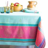 turquoise linen tablecloth in Jacquard fabric and teflon coating