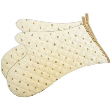 Kitchen gloves, quilted Calissons print white brown