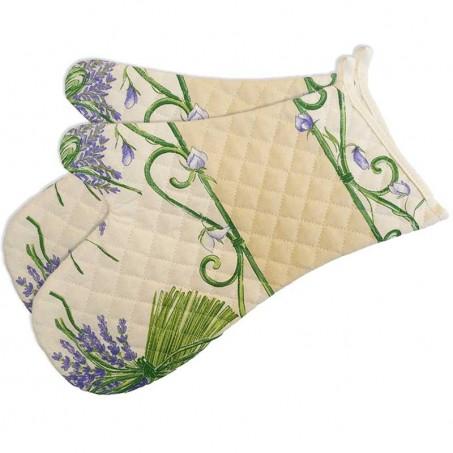Double oven gloves, quilted cotton Bouquet de lavande white