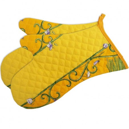 Double oven gloves, quilted cotton Bouquet de lavande yellow