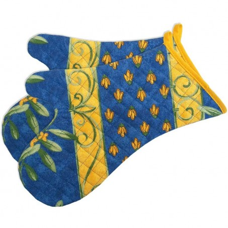 Heat resistant oven mitts, printed Cigales