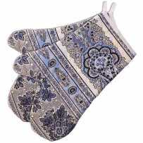 Double oven mitt, Bastide print, Marat d'Avignon lavender