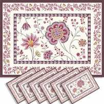 Sets de table rectangulaire, tissé Jacquard Montespan violet