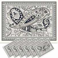 Sets de table rectangulaire, tissé Jacquard Cashmir noir