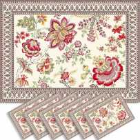 Sets de table rectangulaire, tissé Jacquard Garance rouge