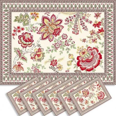 Dining table mats Jacquard woven Garance, Marat d'Avignon red